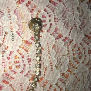 Vintage tie tack gold tone with clear crystal acce